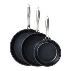 """Kyocera 8"""", 10"""" and 12"""" Ceramic Coated Nonstick 3-Piece Fry Pan Set, Black"""