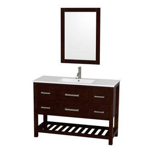 "Natalie 48"" Vanity, 24"" Mirror, White Porcelain Top, Integrated Sink, Espresso"