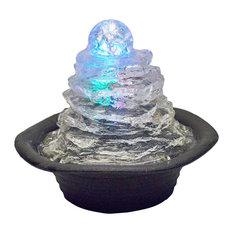 "7.5"" Tall Polyresin Indoor Fountain, LED Light, Ice Mountain Design"