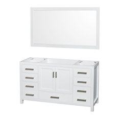"Single Bathroom Vanity, No Countertop, No Sink, White, 58"" Mirror, 59"""