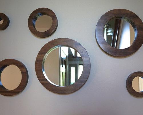 Porthole Mirror Set-Six Solid Walnut Round Wall Mirrors