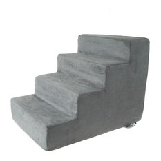 High Density Foam Pet Stairs 4 Steps With Removeable Cover By Petmaker, Gray