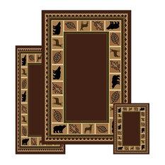 Furnishmyplace   Wildlife Bear Moose Rustic Lodge Cabin Area Rug, 3 Piece  Set,