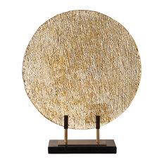 Elegant Bronze Gold Modern Art Glass Charger Stand   Flat Plate Disc Metallic