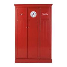 Maisons du monde - Guardaroba rosso in legno L 125 cm Newport - Armadi e guardaroba