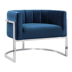 Magnolia Chair, Navy With Silver Base