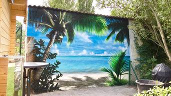 Wandmalerei auf einer Terrassenrückwand