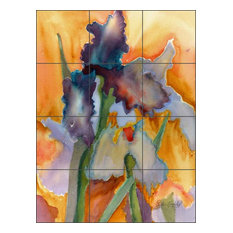 "Ceramic Tile Mural Backsplash, Abstract Iris by Phyllis Neufeld, 24""x32"""