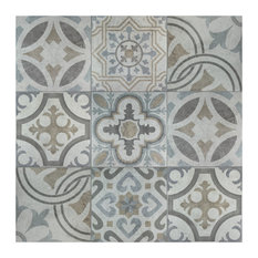"""SomerTile 13.13""""x13.13"""" Llanes Jet Ceramic Floor and Wall Tile, Case of 9, Mix"""