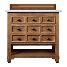 "Malibu 36"" Honey Alder Single Vanity w/ 3cm Carrara White Marble Top"