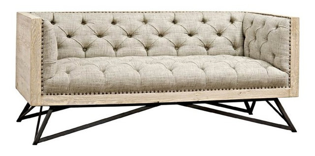 Cfc Furniture Byron Sofa Small Reclaimed Lumber Steel Base