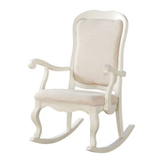 Exceptionnel Acme Furniture   Acme Sharan Rocking Chair, Fabric And Antique White   Rocking  Chairs