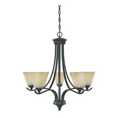 Burnished Bronze and Tea Stained Alabaster Glass 5-Light Chandelier