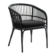 Curved Rattan Armchair With Cushion, Black