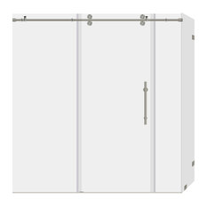 """LessCare ULTRA-D L Clear Shower Enclosure Brushed Nickel, 68-72""""x79""""x36"""""""