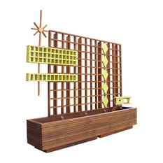 Mid Century Modern Marque Privacy Screen/Trellis, Mahogany, Planter and Trellis