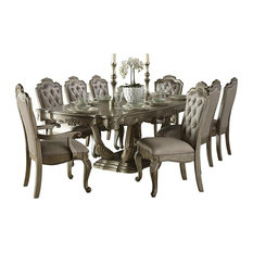 10-Piece Fenti Old World European Dining Set Table, 2 Arm, 6 Side Chair Gold