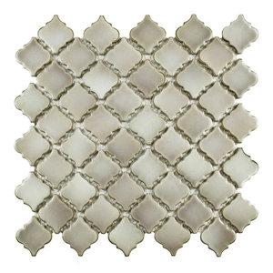 "12.38""x12.5"" Antaeus Porcelain Mosaic Floor/Wall Tile, Taupe"