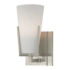 Upton 1-Light Bath and Vanity With Frosted Glass Shade, Satin Nickel
