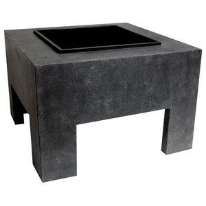 Square Fire Pit with Fibre Clay Console, Granite