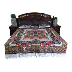 Mogul Interior - 3pc Indian Inspired Bedding Cotton Paisley Bedroom Decor Red Black - Sheet And Pillowcase Sets