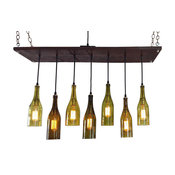 Recycled Wine Bottle Lighting, MidCentury Chandelier, Bleached Gray, With Bulbs