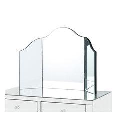 Verina Frameless Modern Contemporary Tri-fold Tabletop Vanity Mirror, No Color