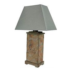 "Sunnydaze Indoor-Outdoor Decorative Natural Slate Table Lamp, Electric, 24"""