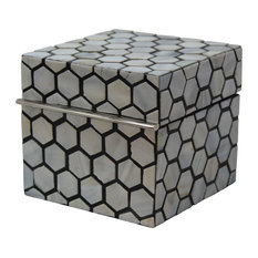 """Luxe Mother of Pearl Inlaid Box 5"""" Honeycomb, Blue White"""