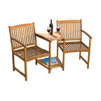 Virginia Outdoor Wood Adjoining Chairs