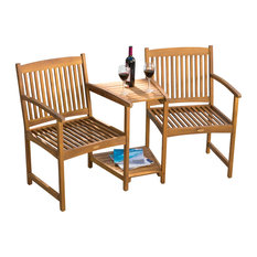 GDFStudio - Virginia Outdoor Wood Adjoining Chairs - Outdoor Lounge Chairs