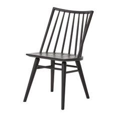 Windsor Black Oak Wood Dining Chairs, Set of 2