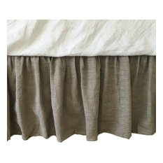 "Natural Linen Bed Skirt, Dark Shade, 15"" Drop, Twin"