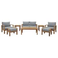 Marina 8-Piece Outdoor Premium Grade A Teak Wood Set, Natural Gray