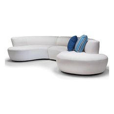 Iris Modern Beige Outdoor Arm 3 Piece Sectional - Right Arm Facing