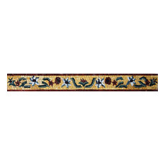 """Assorted Floral Border Mosaic, 4""""x14"""""""