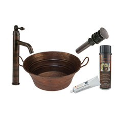 Oval Bucket Vessel Hammered Copper Sink, Oil Rubbed Bronze