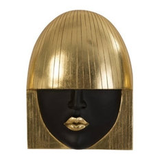 """12"""" Long Wall Art Sculpture Fashion Girls Faces Gold Leaf Set Of Resin"""