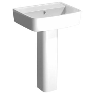 Modern Basin Sink, Gloss White Ceramic With 1-Tap Hole, Pedestal Design, 52 cm