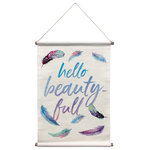 WallPops! - Beautiful Wall Tapestry - Celebrate beauty with this stunning, free-spirited tapestry. Purple and blue feathers add a bohemian touch to the quote, Hello Beauty-Full. Beautiful Wall Tapestry contains 1 piece that measures 32 x 18 inches. Wall tapestry with a boho style; Purple and blue colors; Made of cotton, polyester, and wood materials; Quote reads: Hello beauty-full; Measures 32-in long x 18-in wide.