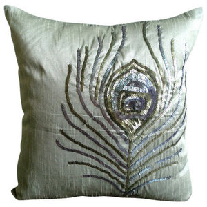 Luxury Gray Peacock Cushions Cover, 50x50 Silk Cushions Cover, Peacock