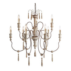LNC 8-Light Retro-white Rust Two-tier Shabby-Chic French Country Chandelier