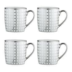 Set of 4 Lattice Mugs by BIA, Platinum