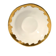 Feba Italia - Gold and White Organic Ceramic Salad Bowl - Salad & Serving Bowls
