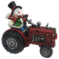 Snowman On Tractor Decor With Color Changing Led Lights