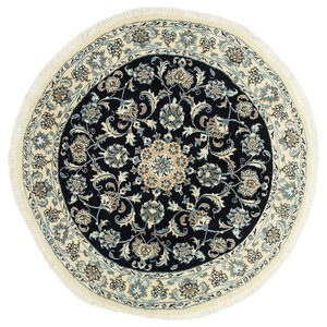 Nain Oriental Rug, Round Hand-Knotted Classic, 135x135 cm