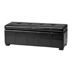 Hawthorne Collection Large Tufted Leather Storage Bench, Black