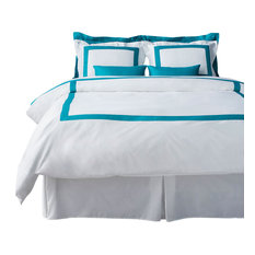 LaCozi Turquoise and White Duvet Cover Set, Queen