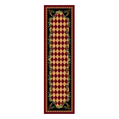High Country Rooster Rug, Red, 2'x8', Runner