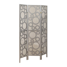 3-Panel Folding Screen with Silver Frame
